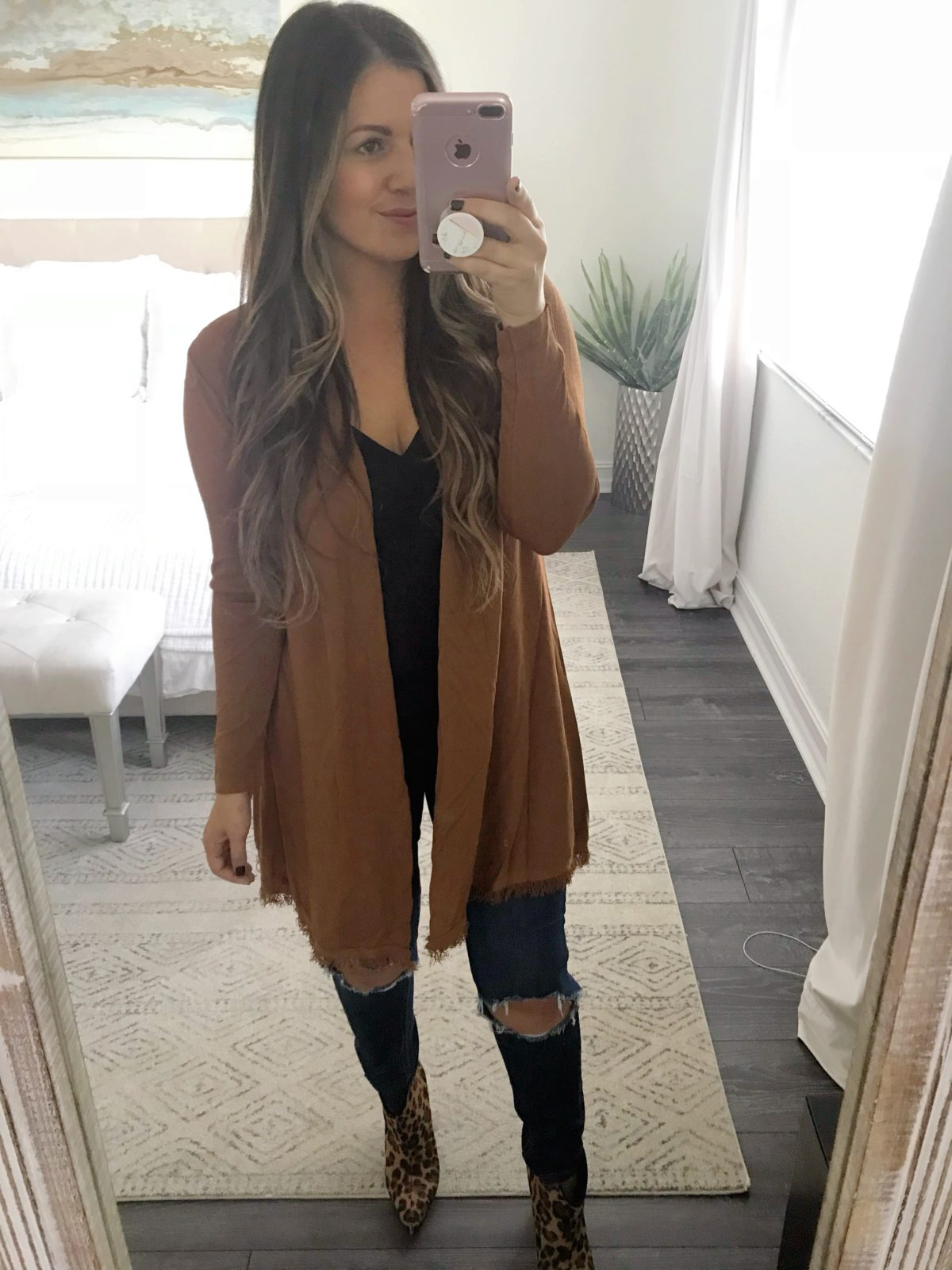 long cardigan with tassels