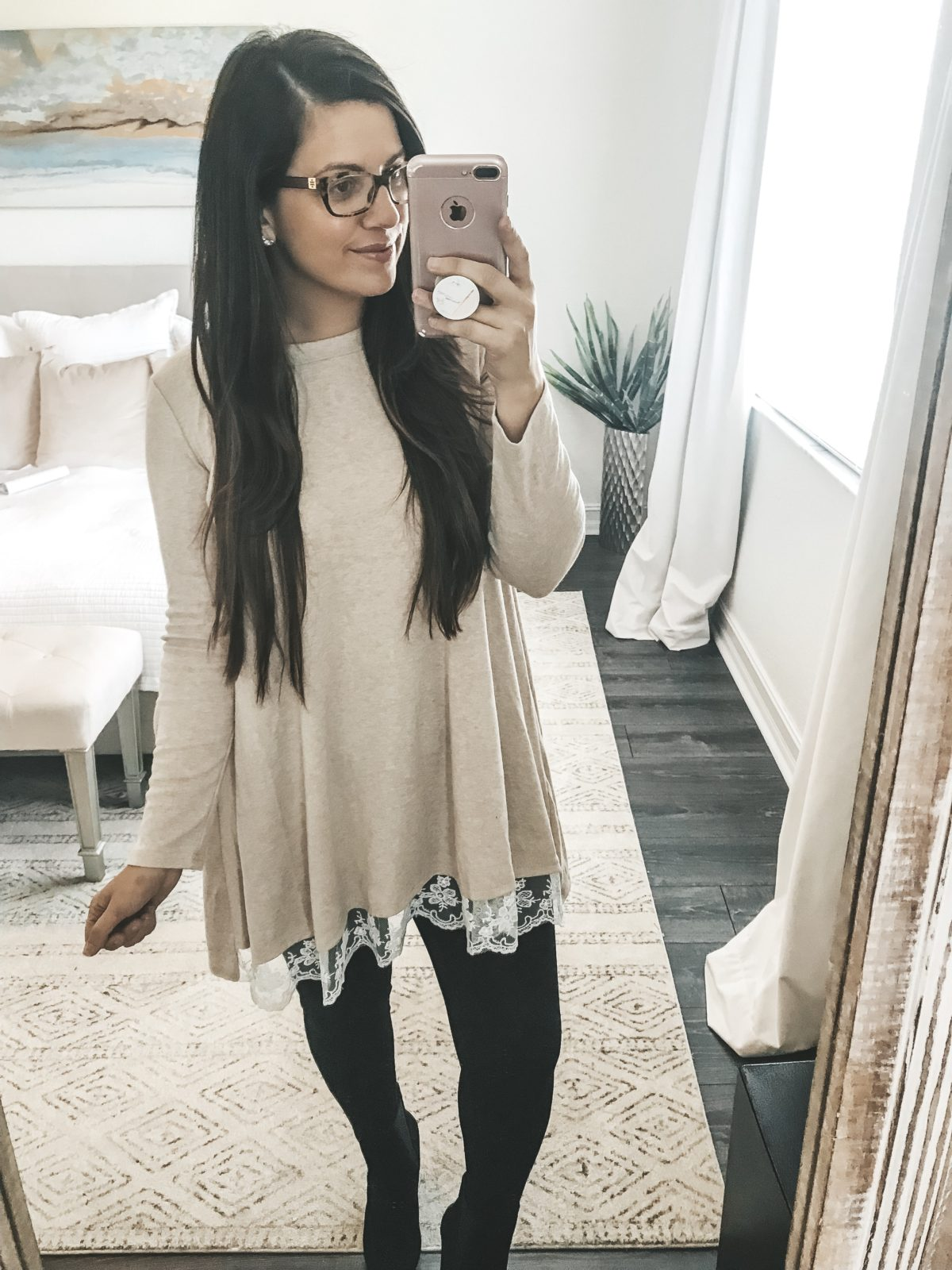 Amazon Fashion tunic, long sleeve lace tunic