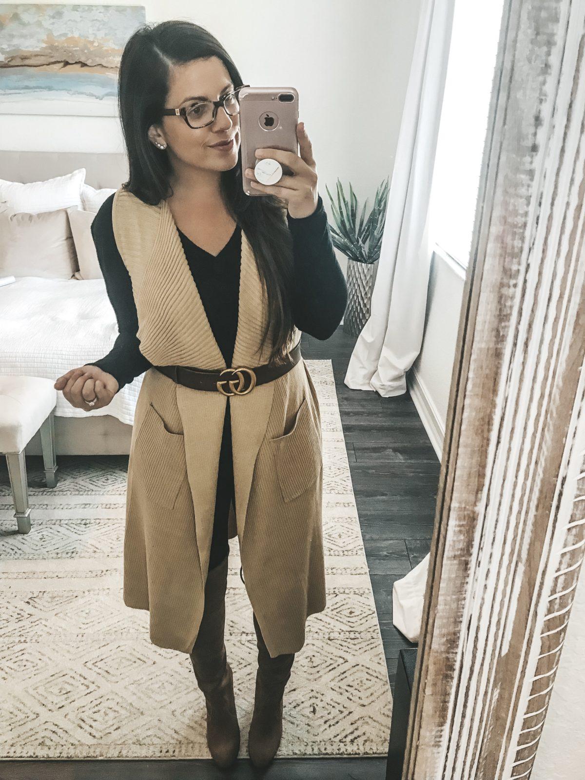 Amazon Fashion sweater vest, Gucci belt