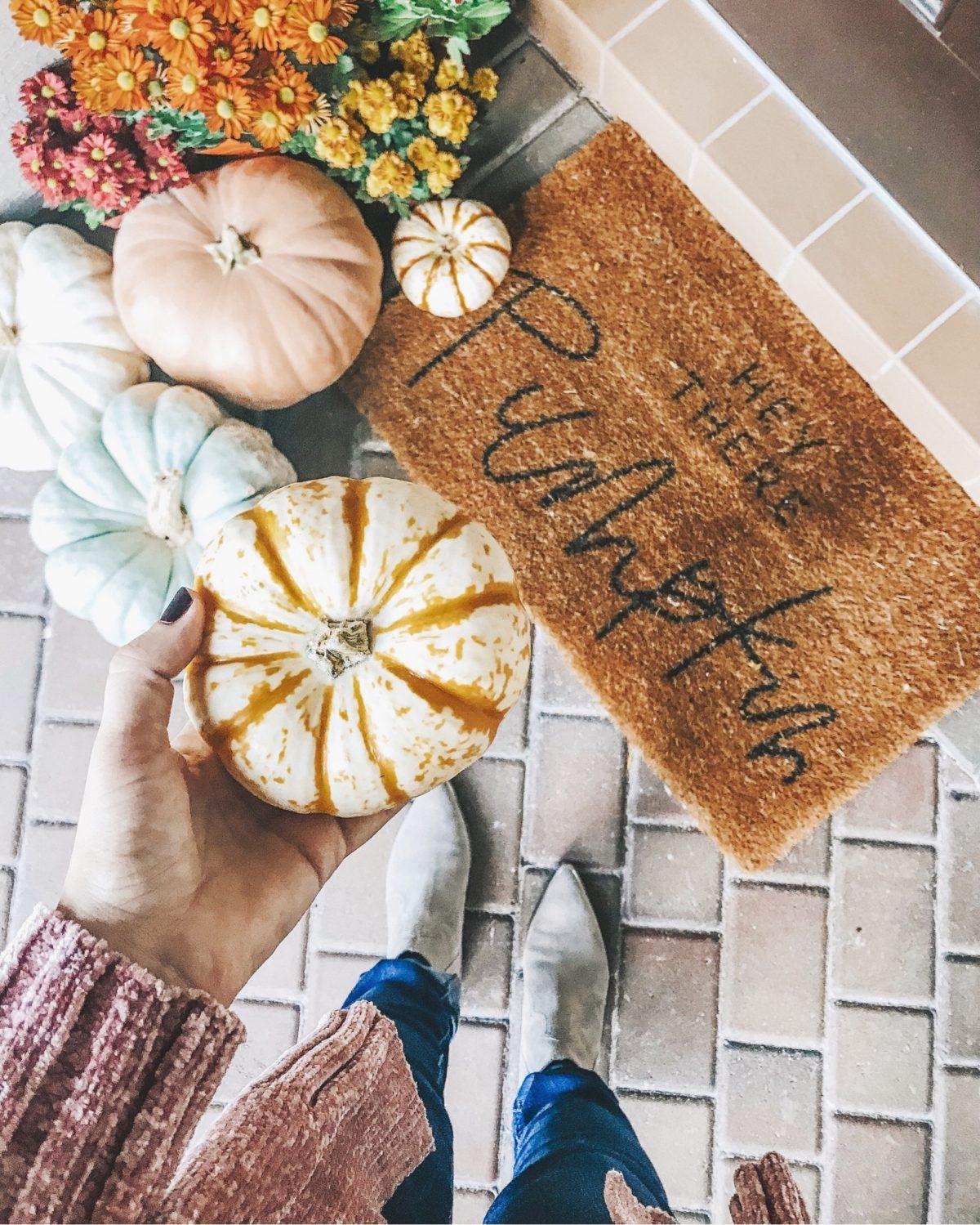 Hey There Pumpkin doormat, Fall Door mat