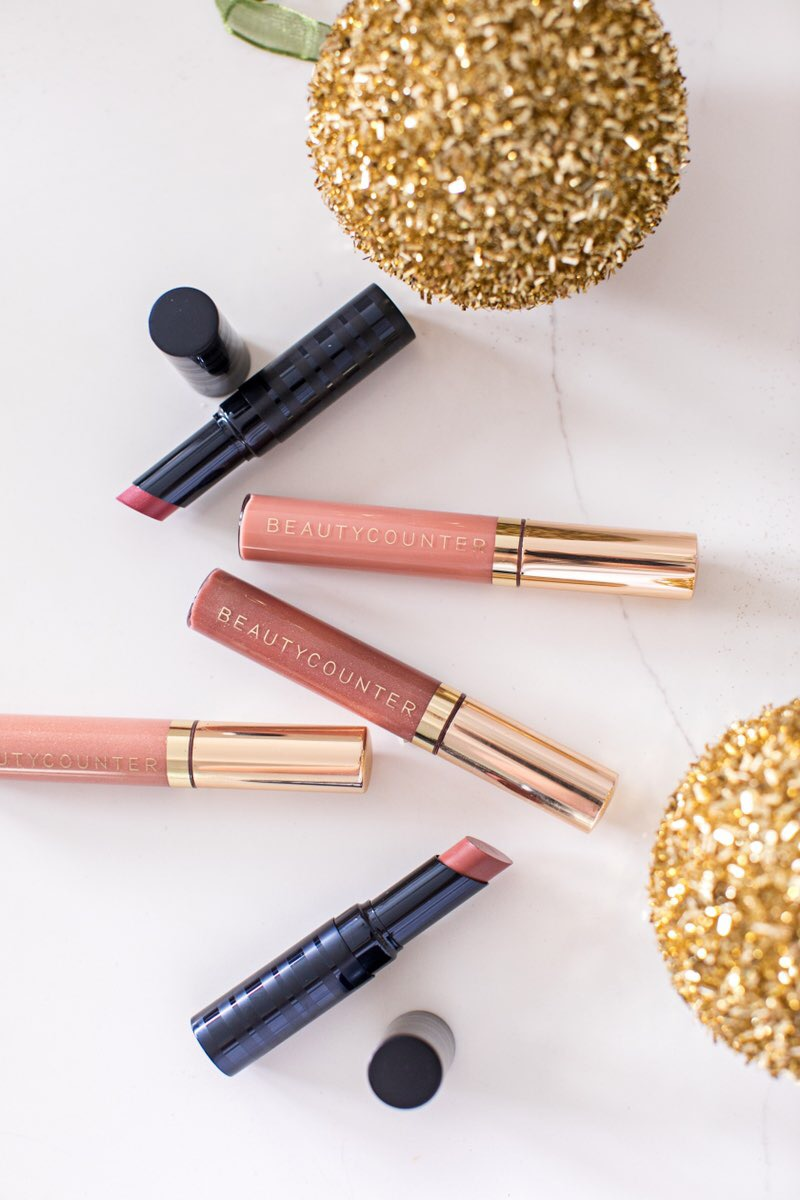 Beautycounter lipgloss, Beautycounter lipstick, beautycounter holiday set