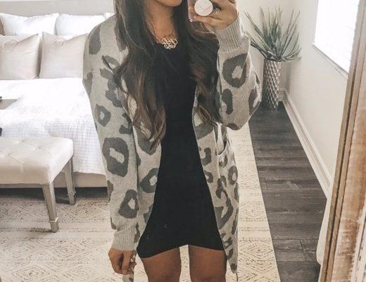 grey leopard duster cardigan