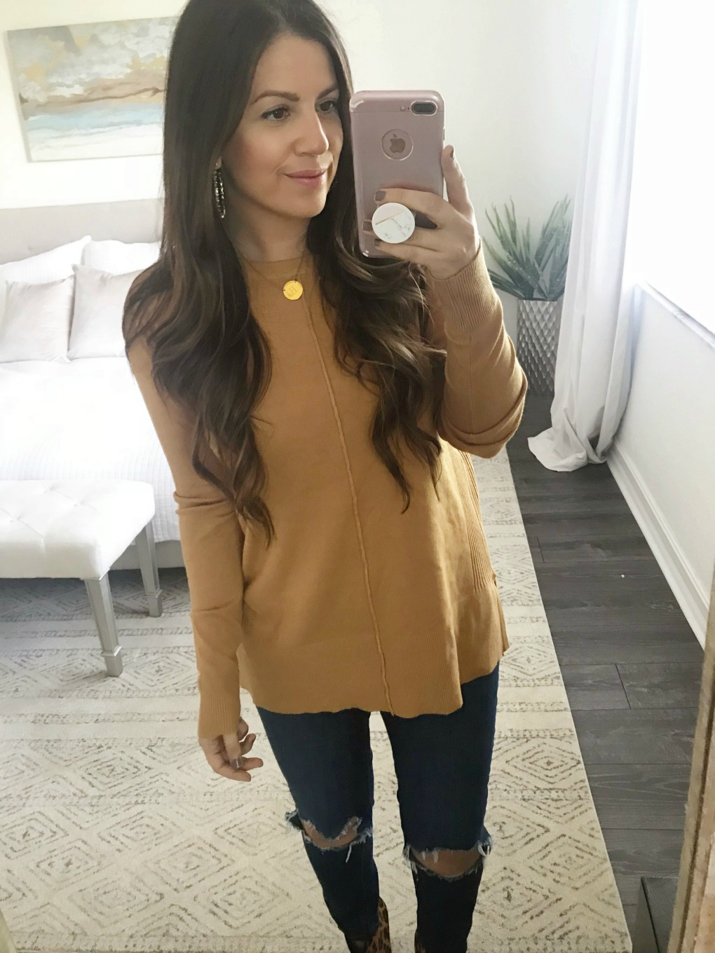 red dress boutique tan sweater