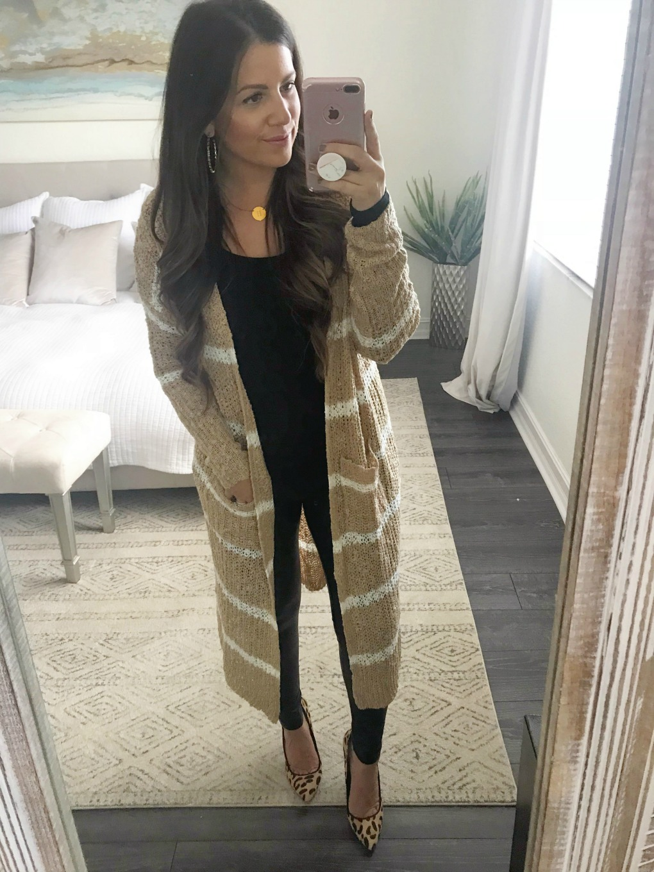 long cardigan, stripe cardigan, Sunflowers and Stilettos blog
