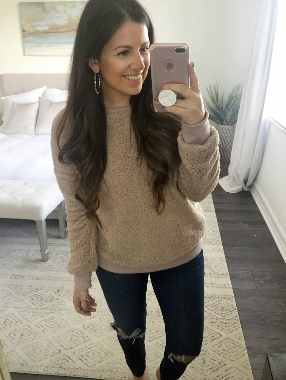 teddy sweater, teddy pullover, wubby pullover, fleece sweatshirt