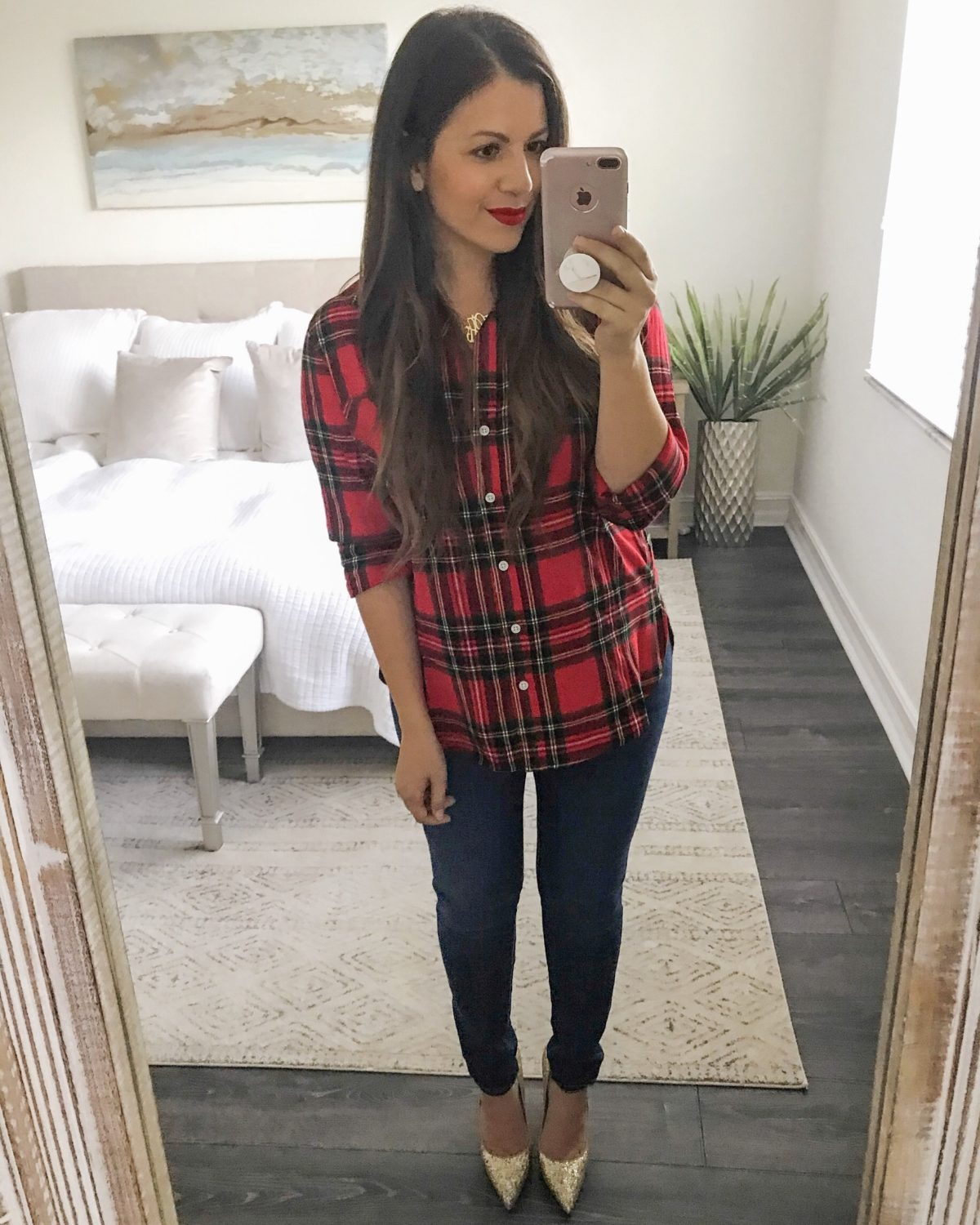 Christmas Plaid Flannel Button Down, red plaid flannel, Old Navy plaid top