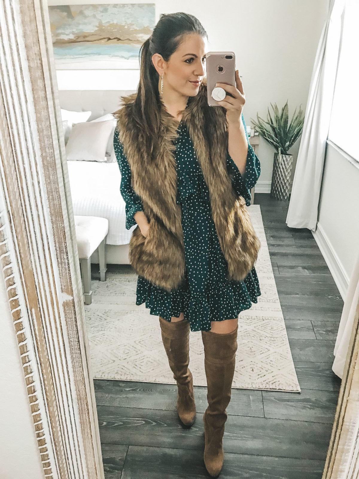 Ruffle Polka Dot Loose Swing Dress, Amazon Fashion Dress