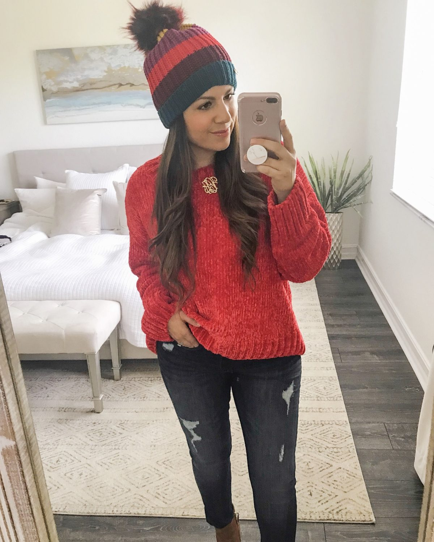 red chenille sweater, Sanctuary sweater, stripe pom pom beanie, Sunflowers and Stilettos try on
