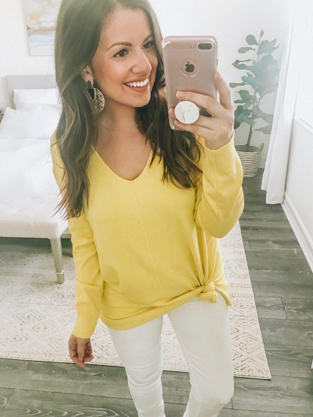 So Soft Cashmere Like Sweater, Neon Yellow Spring Sweater, Spring Sweater, Sunflowers and Stilettos fashion blog, Florida Fashion Blogger Jaime Cittadino