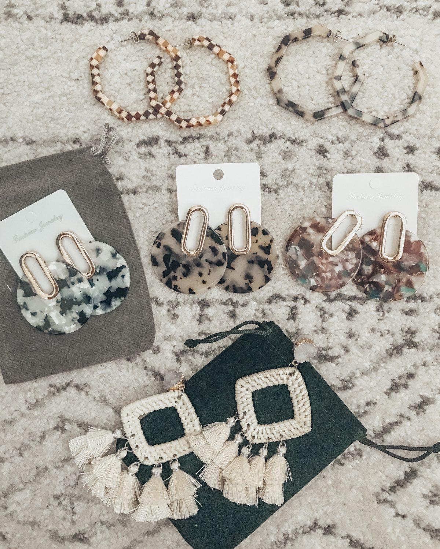Amazon Fashion Earrings, Statement Earrings, Acrylic Earrings, Rattan Earrings