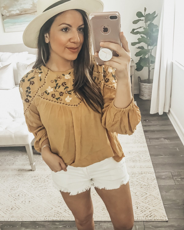 Boho Embroidered Long Sleeve Top, Amazon Fashion