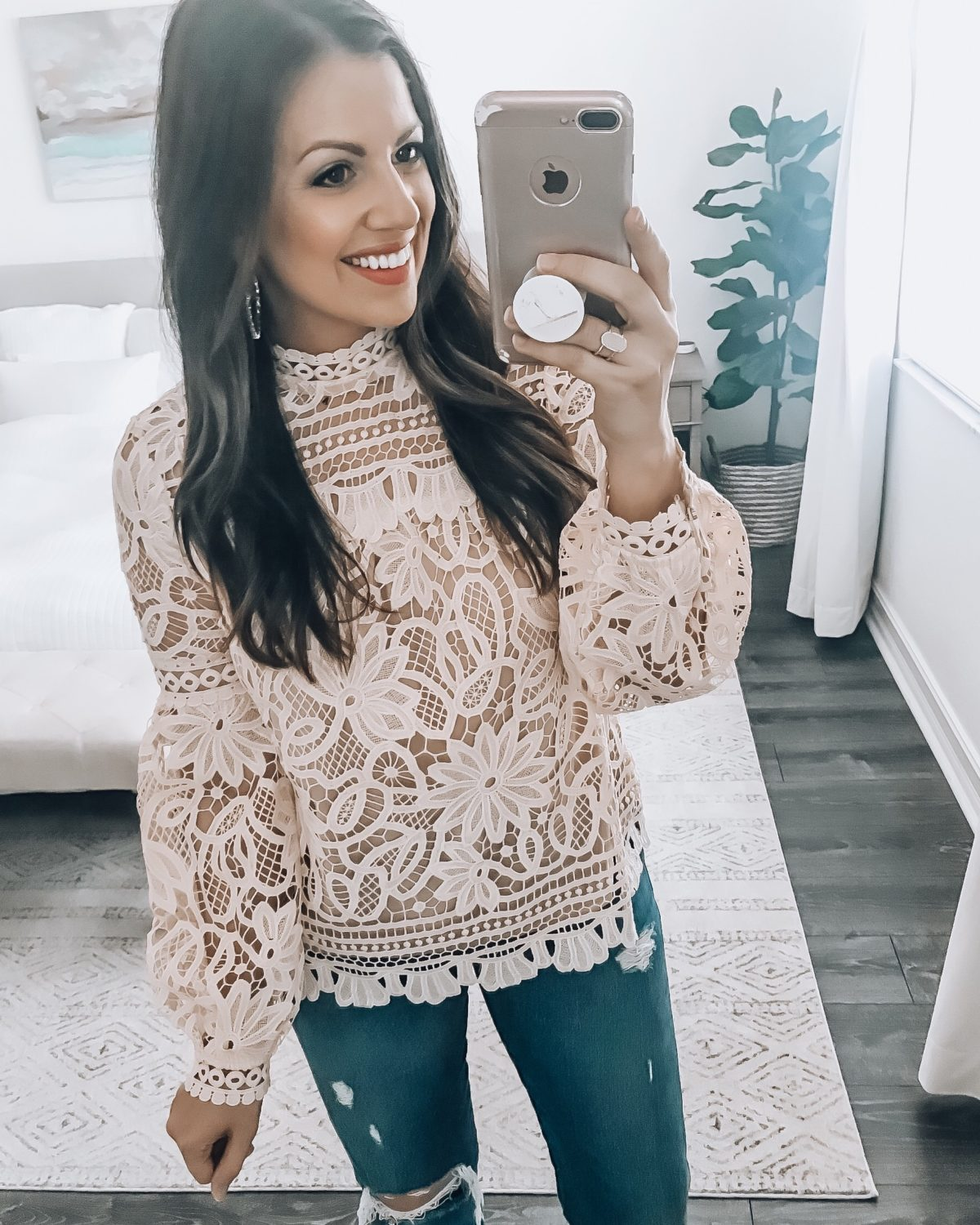 Lace Long Sleeve Red Dress Boutique Top