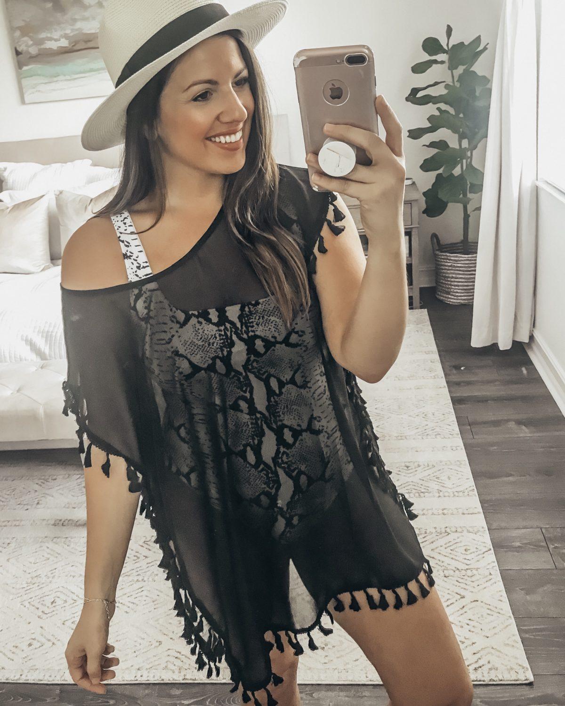 Tassel Coverup from Amazon, black sheer tassel coverup, Panama hat