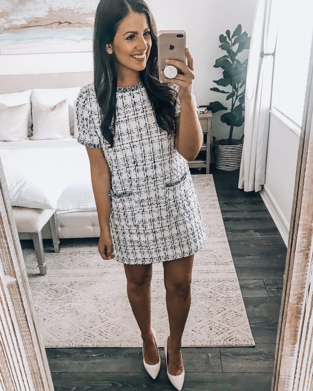 Amazon fashion twill white dress, twill tweed office dress, Chanel lookalike dress, Jaime Cittadino Florida fashion blogger