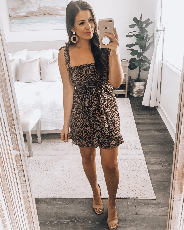 Amazon leopard mini dress, leopard mini dress, Jaime Cittadino of Sunflowers and Stilettos, Amazon Fashion dress