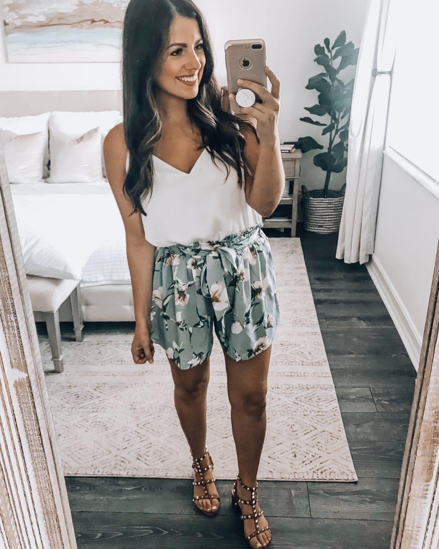 Amazon fashion floral shorts, Valentino Rockstud dupes sandals, Amazon floral shorts