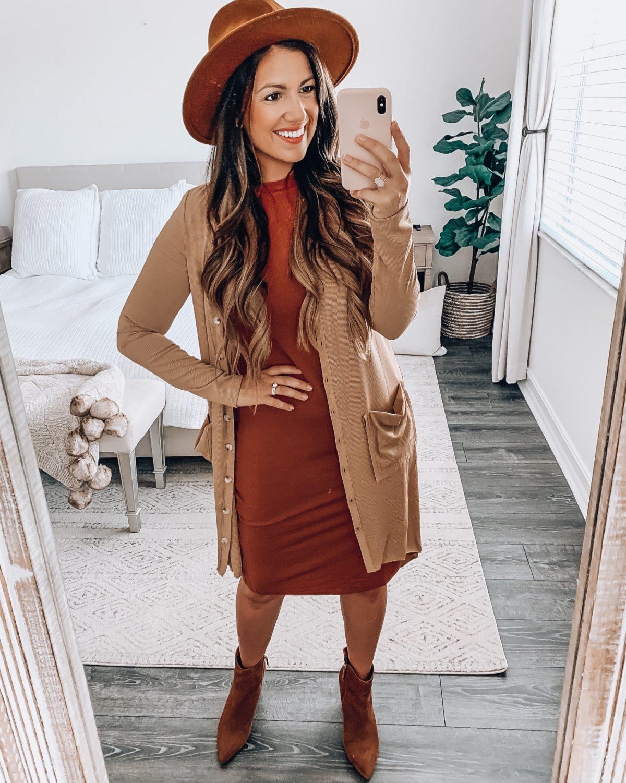 Amazon Fashion bodycon dress and cardigan, Amazon fashion fedora hat
