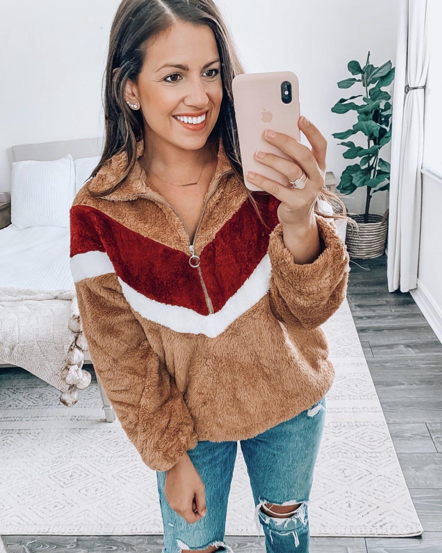 Amazon Fashion fleece pullover chevron sweatshirt, Amazon Fall Fashion