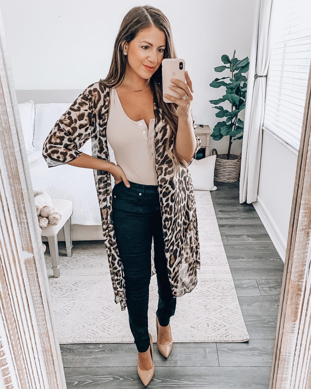 Amazon Fashion leopard duster kimono