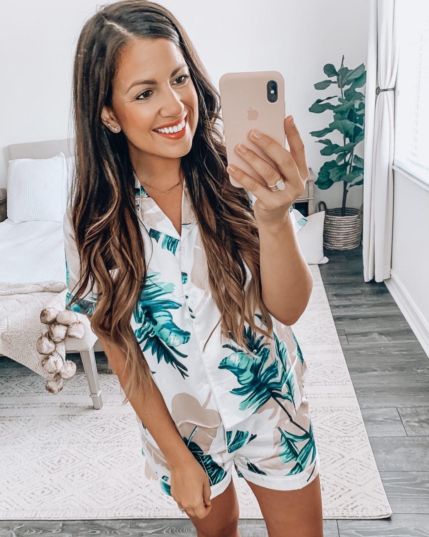 Amazon fashion pj set, tropical pj set, palm leaf pajama set