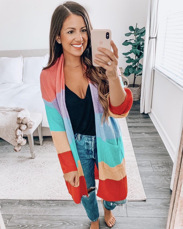 Amazon Fashion rainbow cardigan, Jaime Cittadino Florida Fashion Lifestyle Blogger