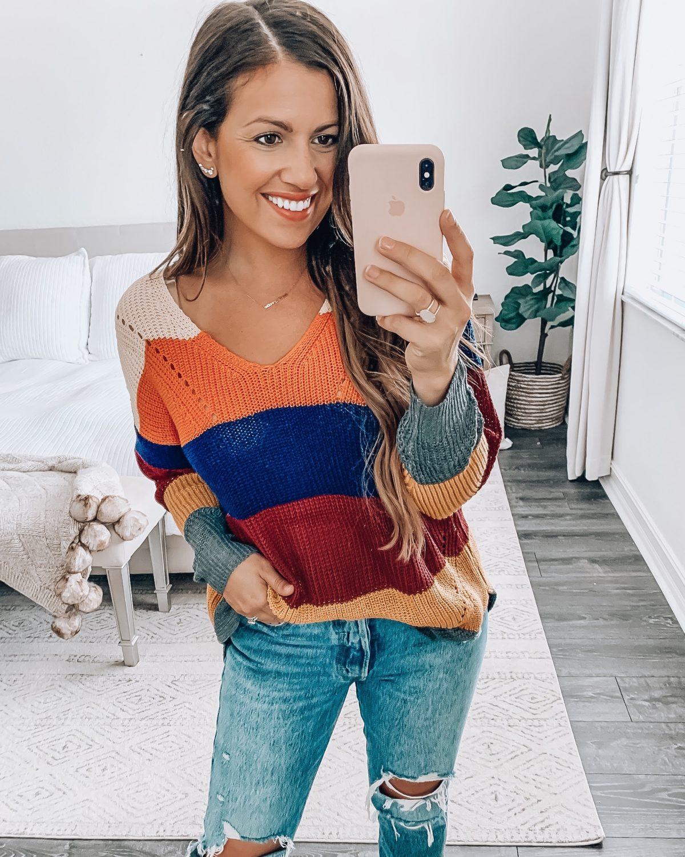 Amazon Fashion stripe fall sweater, oversize stripe sweater