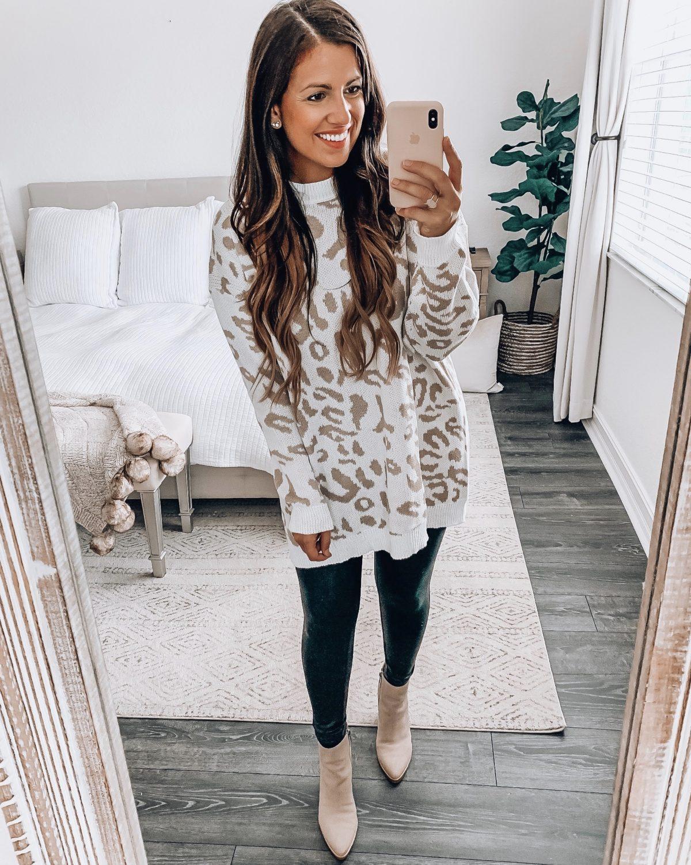 Amazon Fashion white leopard sweater dress