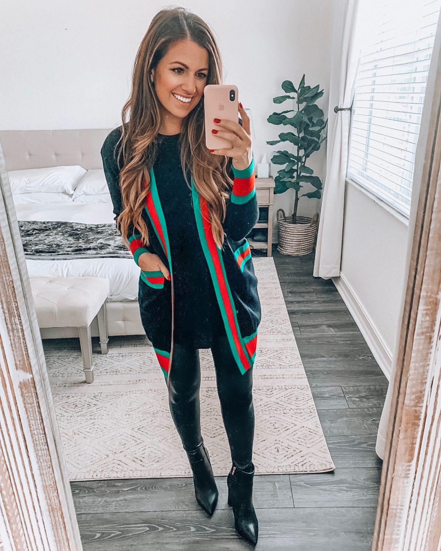 red green stripe cardigan, Gucci dupe, Gucci sweater cardigan