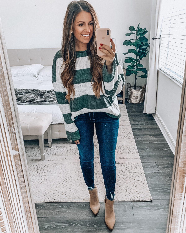 stripe crew neck sweater, Amazon stripe sweater