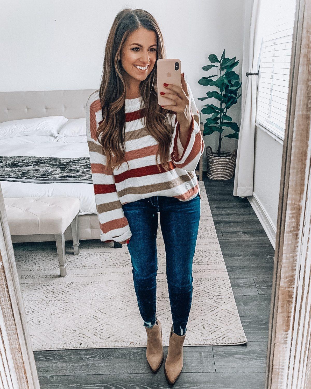 oversize stripe sweater, Amazon fashion oversize stripe sweater, Jaime Cittadino Sunflowers and Stilettos fashion blog