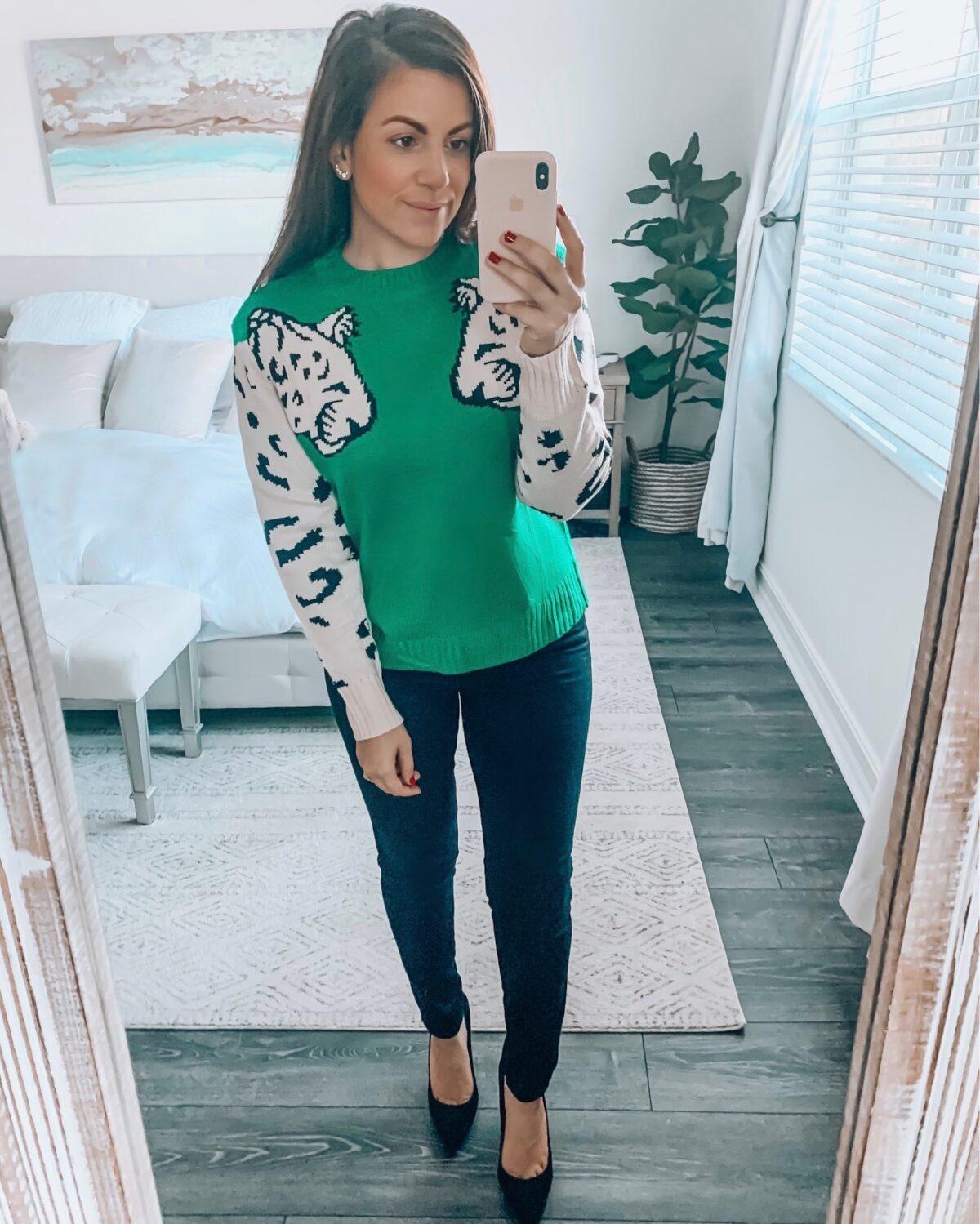 Amazon double leopard sweater
