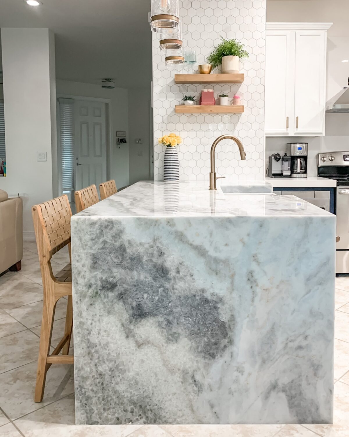 Primestones blue marble waterfall kitchen island, marble West Palm Beach, marble Miami