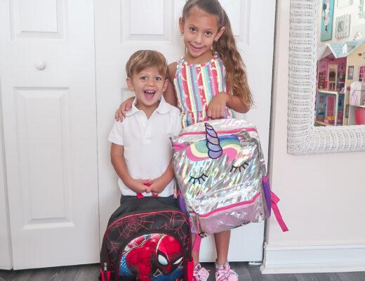Walmart kids, unicorn backpack, Spiderman backpack, school uniform