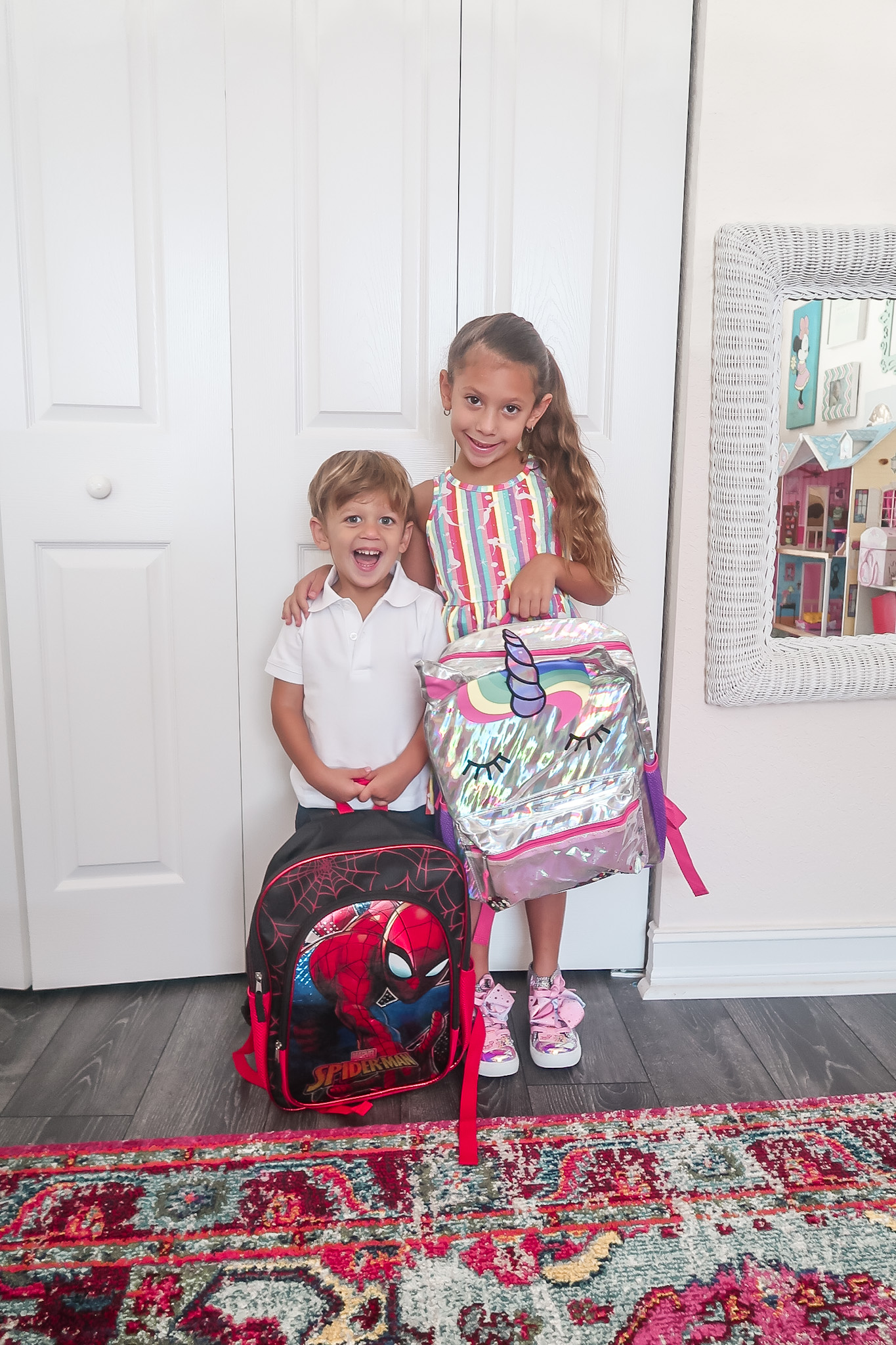Walmart kids, unicorn backpack, Spiderman backpack, school uniform