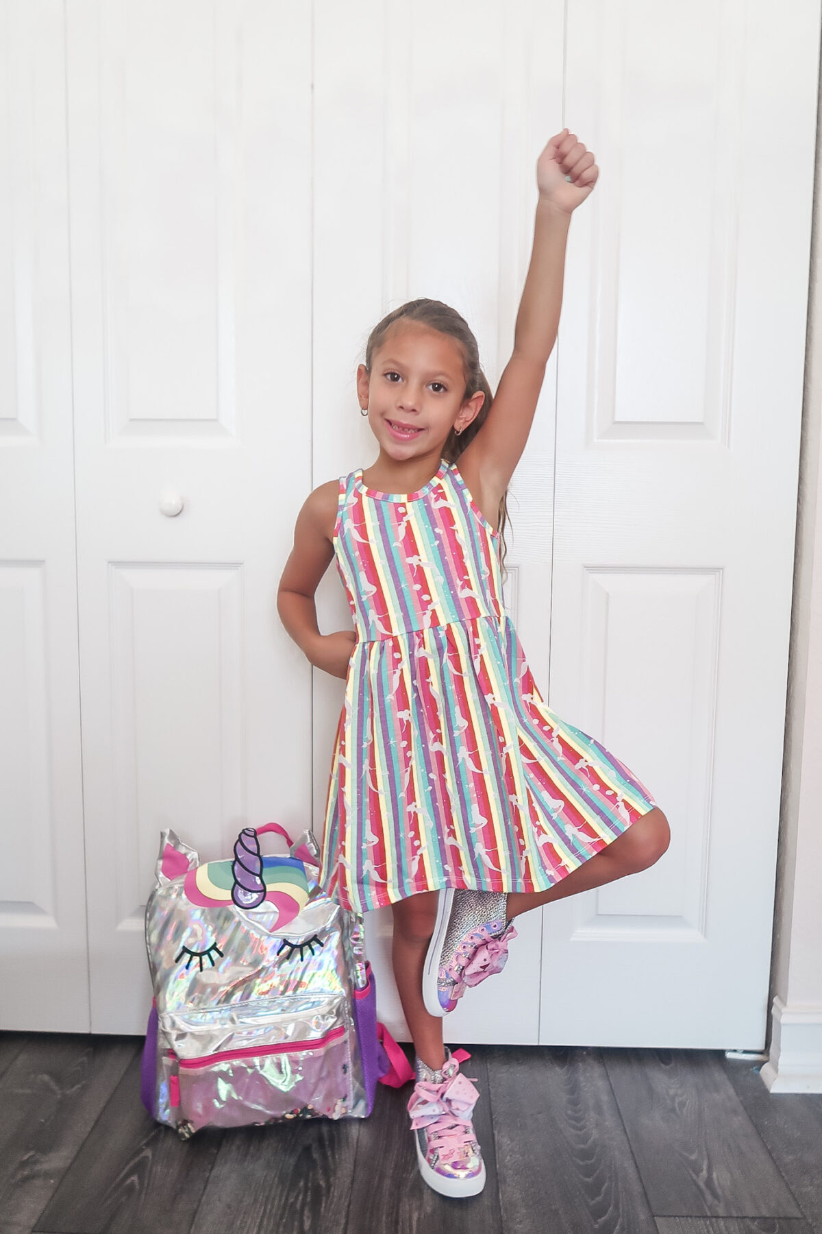 affordable girls rainbow dress, rainbow dress