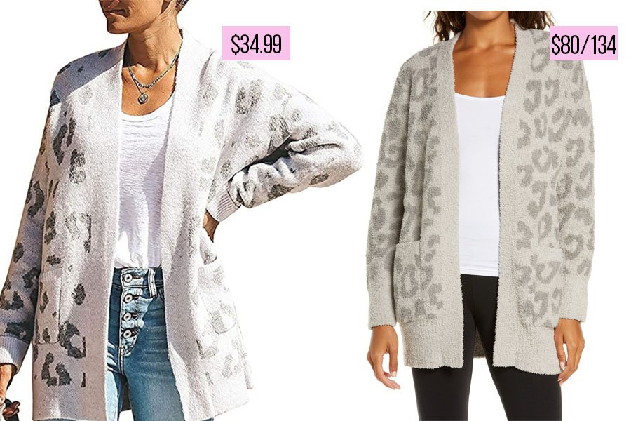 leopard cardigan, Barefoot Dreams Sweater Dupe