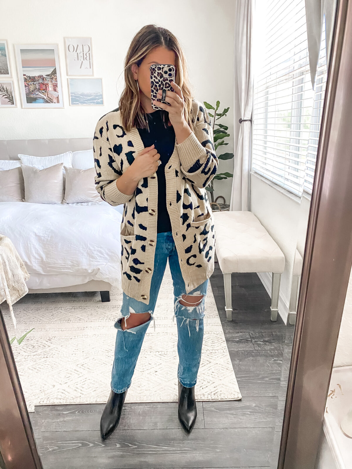 Amazon leopard button down cardigan sweater, leopard print cardigan coat