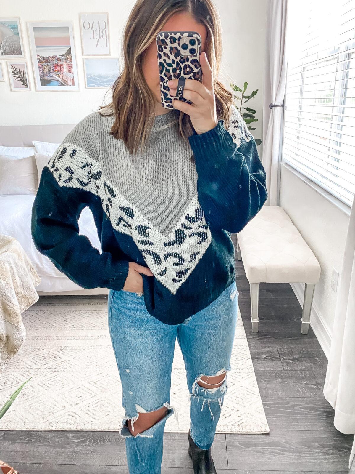 Amazon leopard sweater, leopard color block sweater