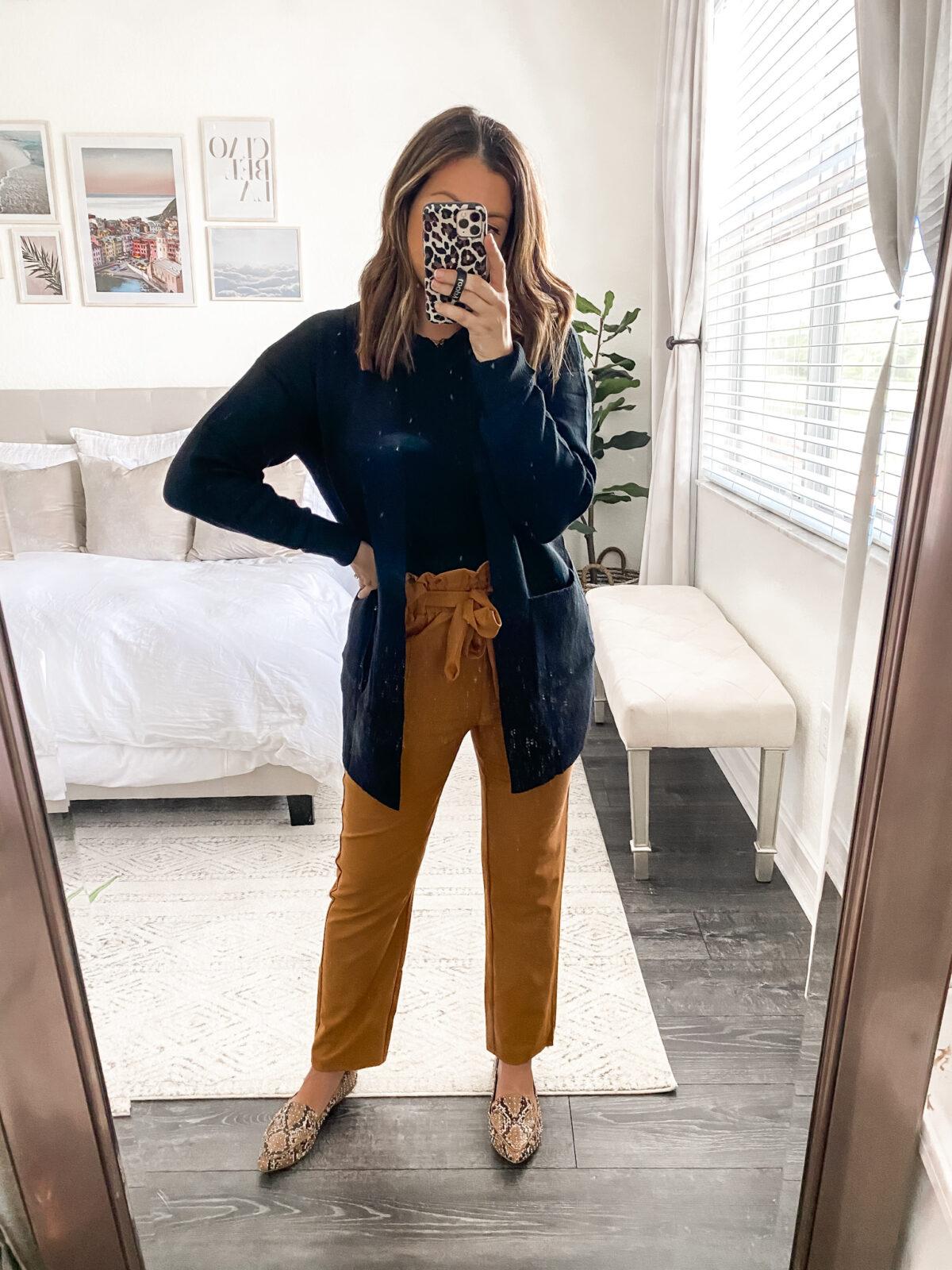Amazon paperbag pants _ high waisted work slacks, Grace Karin pants, paperbag work pants for women, Jaime Cittadino Florida fashion blogger