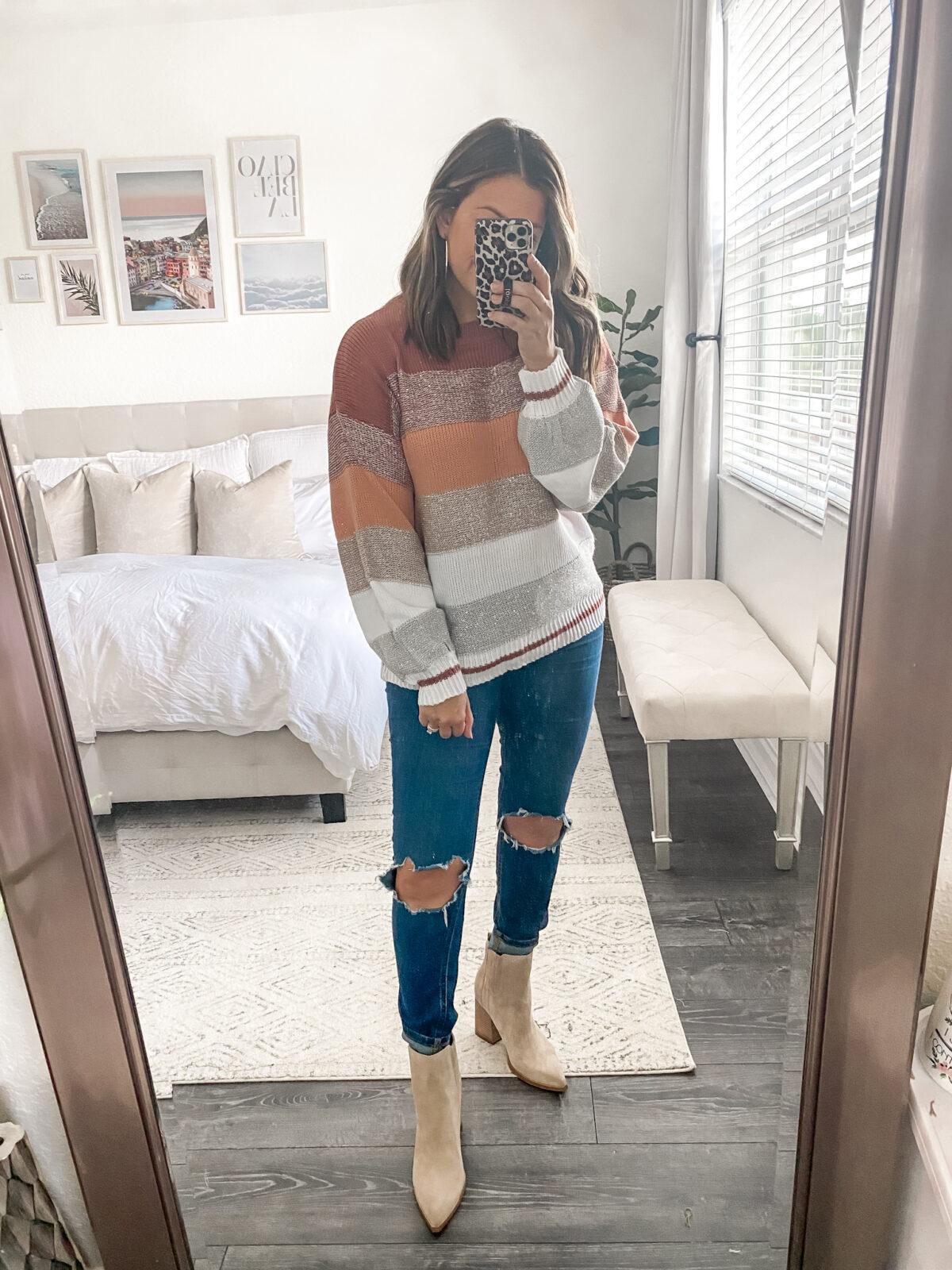 Amazon striped sweater, oversize stripe sweater from Amazon fashion, Florida blogger Jaime Cittadino of Sunflowers and Stilettos