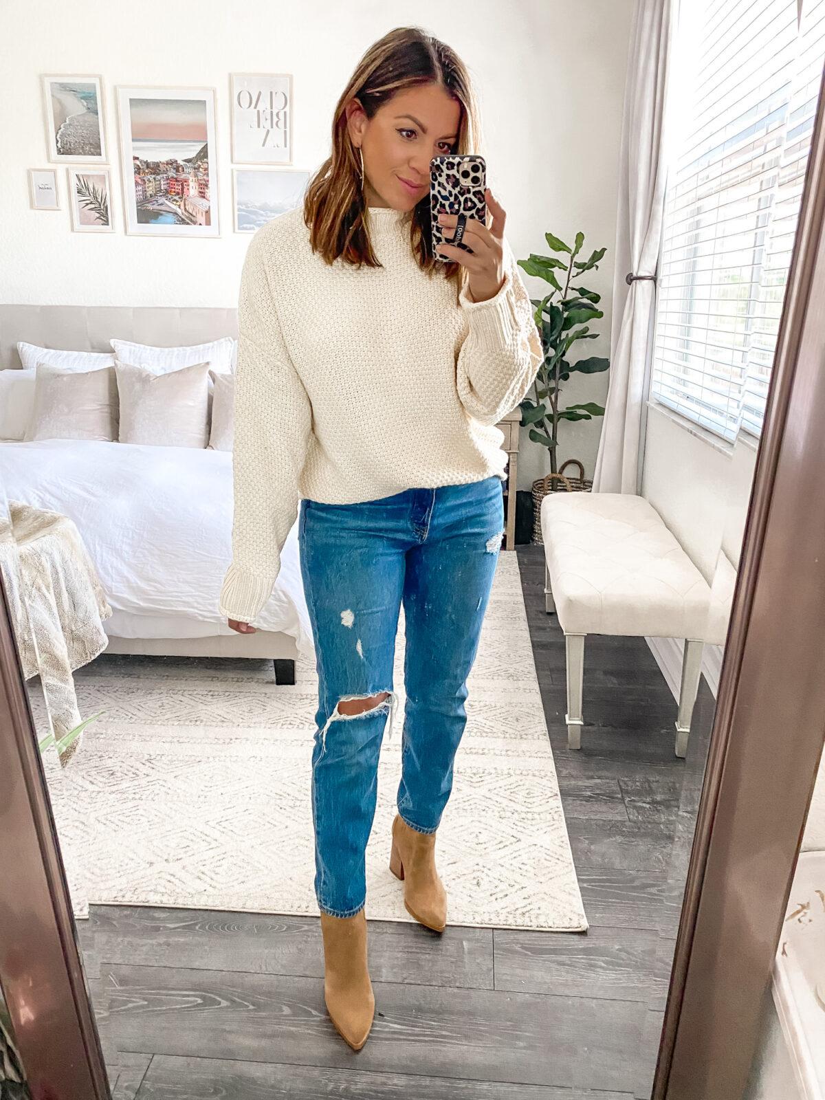 Amazon Sweater, Free People dupe, Jaime Cittadino fashion blogger